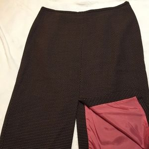 J. Crew brown wool skirt with pink dots and lining